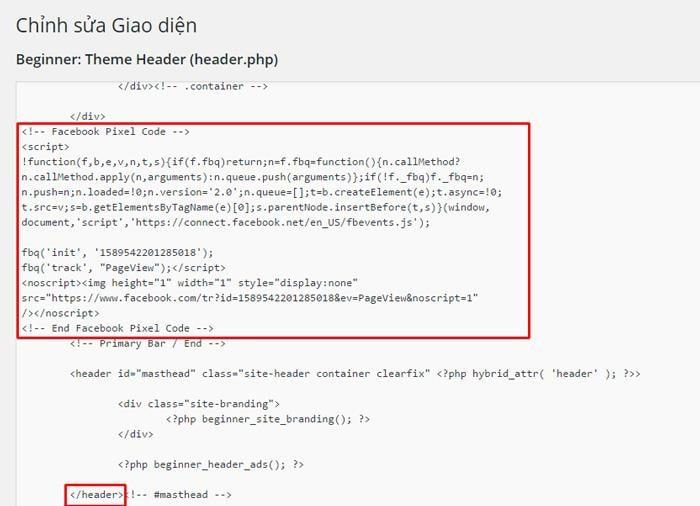 * Lưu ý: Mỗi tài khoản quảng cáo chỉ có 1 mã pixel duy nhất. Do đó bạn chỉ nên chèn 1 mã pixel lên 1 website để tiện theo dõi và thống kê sau này.
