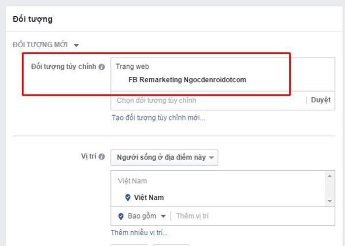 Bắt đầu tạo quảng cáo Facebook Remarketing