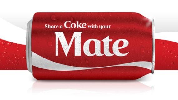 Hình ảnh vỏ lon Coca có in tên riêng lên trên