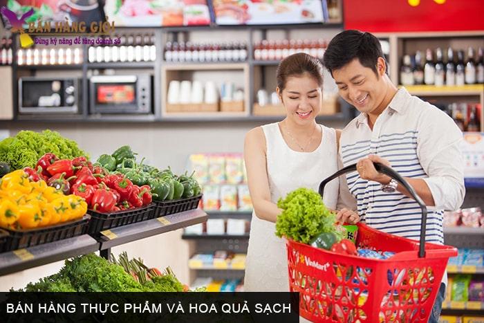Bán hàng thực phẩm và hoa quả sạch