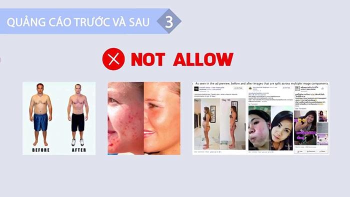 """Quảng cáo không được chứa hình ảnh """"trước và sau"""""""