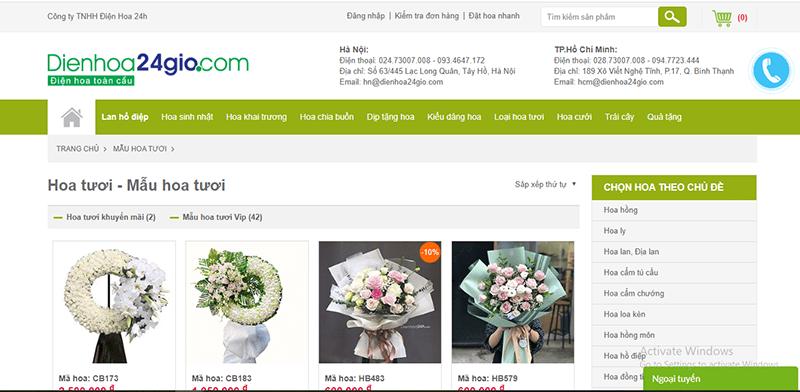 dienhoa24gio.com là 1 trong số những website bán hoa tươi nổi tiếng