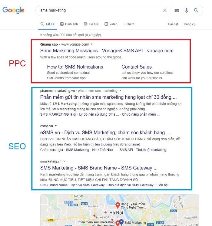 PPC được trả phí để xuất hiện tại các vị trí đầu của công cụ tìm kiếm
